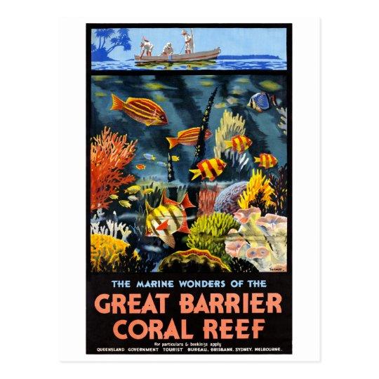 Australia Great Barrier Coral Reef Vintage Poster Postcard