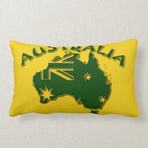 Australia green and gold pillow