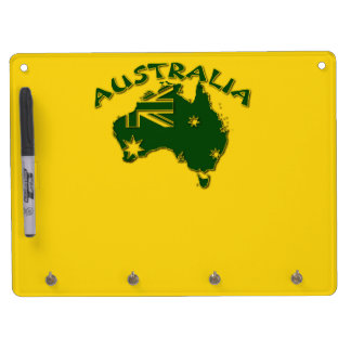 Australia green and gold dry erase board with key ring holder