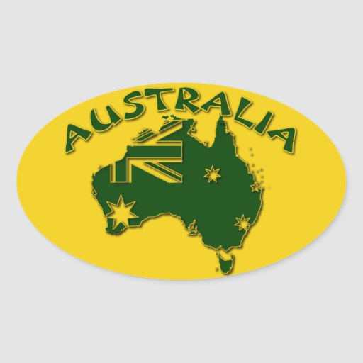 Australia green and gold sticker