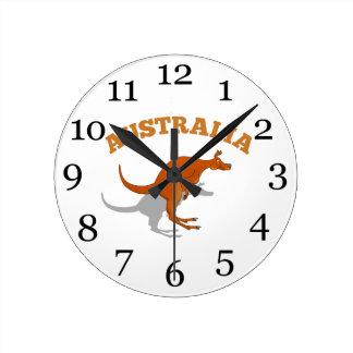 Australia, jumping Kangaroo Wallclocks