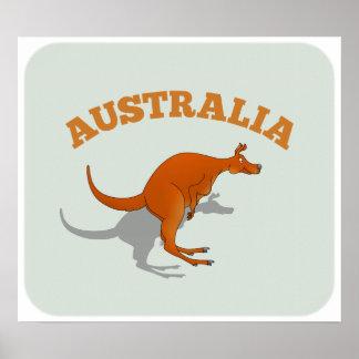 Australia, jumping Kangaroo Poster