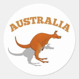 Australia, jumping Kangaroo Round Sticker