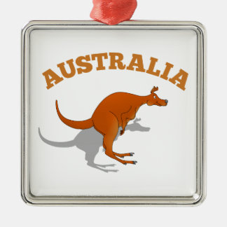 Australia, jumping Kangaroo Silver-Colored Square Decoration