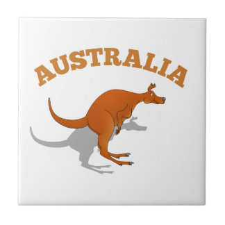 Australia, jumping Kangaroo Small Square Tile