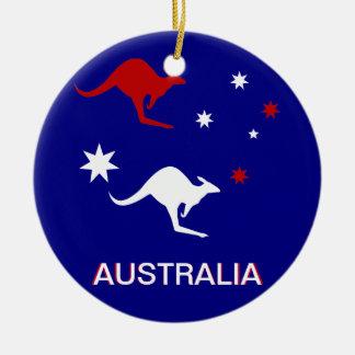 Australia Kangaroo and Southern Cross design Round Ceramic Decoration