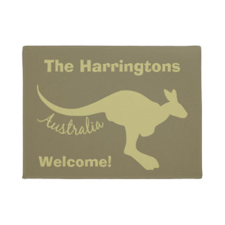 Australia Kangaroo custom text & color door mat