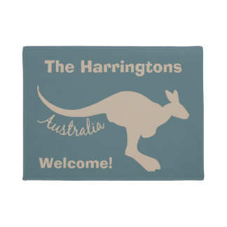 Australia Kangaroo custom text & color door mat