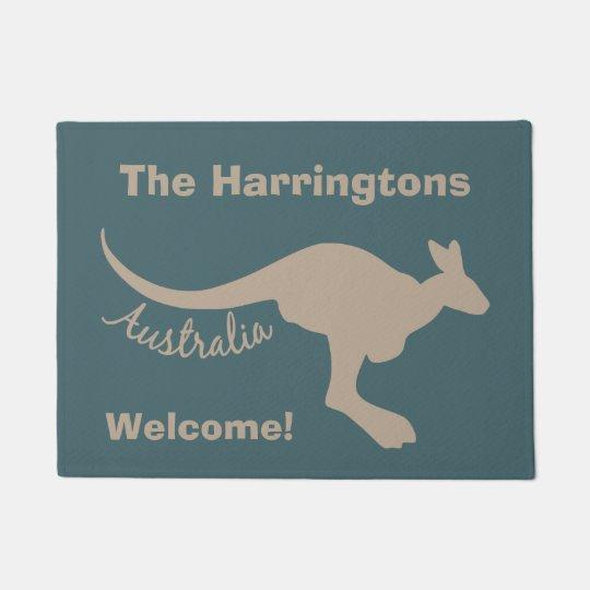 Australia Kangaroo custom text & colour door mat