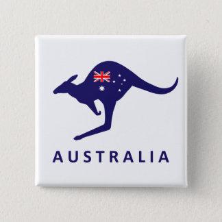 AUSTRALIA KANGAROO FLAG 15 CM SQUARE BADGE