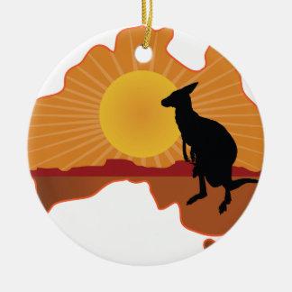 Australia Kangaroo Round Ceramic Decoration