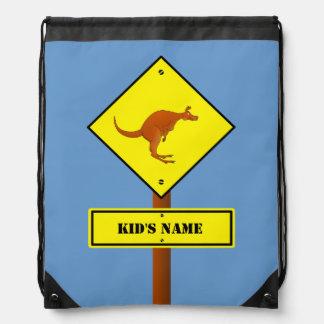 Australia kangaroo sign drawstring bag
