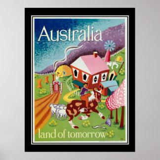 Australia Land of Tomorrow Vintage Poster