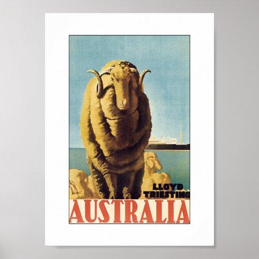 Australia - Lloyd Triestino (white) Poster