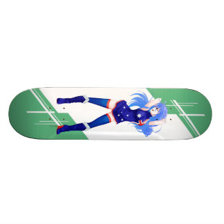 Australia Manga girl dressed in Flag - Australian Skateboard Deck