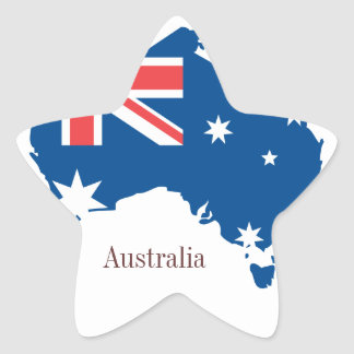australia map and flag - sticker