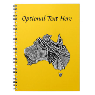 Australia Map Doodle Art Black and White Spiral Notebooks