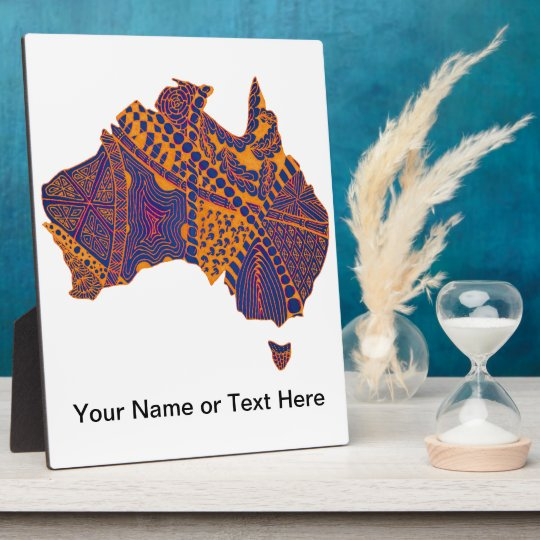 Australia Map Doodle Orange Purple Plaque