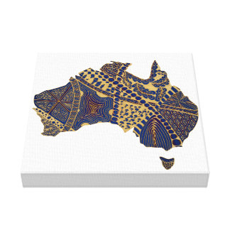 Australia Map Doodle Tan Red Blue Gallery Wrapped Canvas