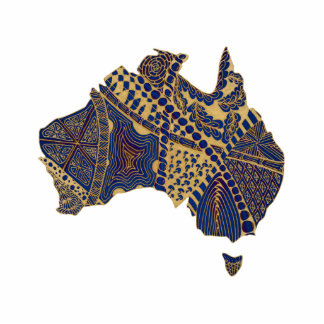 Australia Map Doodle Tan Red Blue Photo Sculpture Magnet