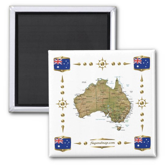 Australia Map + Flags Magnet