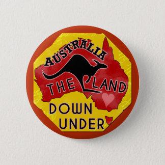Australia Map Land Down Under with Kangaroo Retro 6 Cm Round Badge