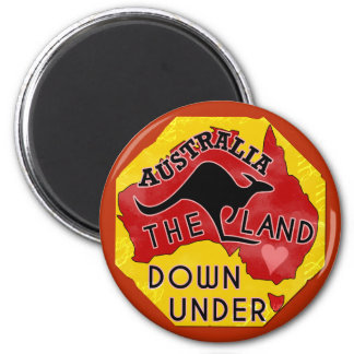 Australia Map Land Down Under with Kangaroo Retro 6 Cm Round Magnet