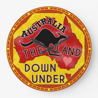 Australia Map Land Down Under with Kangaroo Retro Large Clock