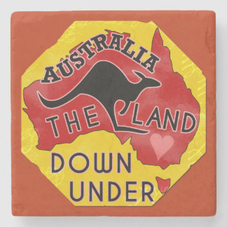 Australia Map Land Down Under with Kangaroo Retro Stone Coaster