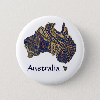 Australia Map Tan-Blue-Red 6 Cm Round Badge