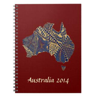 Australia Map Tan-Blue-Red Spiral Note Book