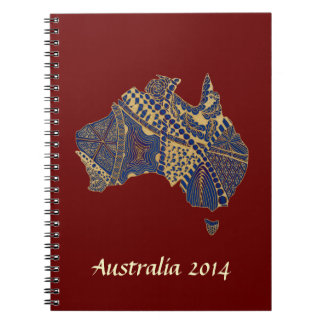 Australia Map Tan-Blue-Red Spiral Note Book