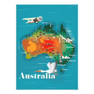 Australia Map Travel poster