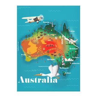 Australia Map Travel poster Canvas Print
