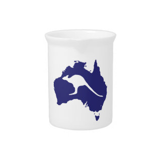 Australia Map With Kangaroo Silhouette Drink Pitcher