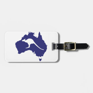 Australia Map With Kangaroo Silhouette Luggage Tag