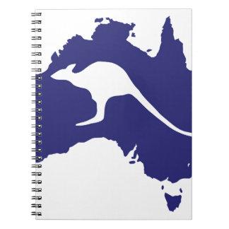 Australia Map With Kangaroo Silhouette Notebook