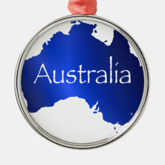 Australia Map With White Background Silver-Colored Round Decoration
