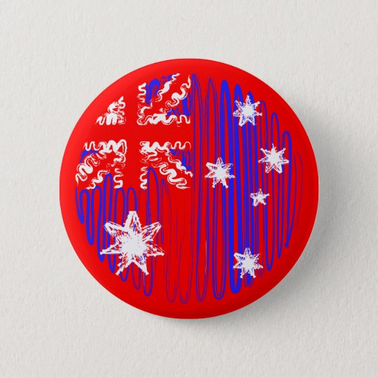 Australia on Red 6 Cm Round Badge