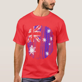 Australia on Red Tee Shirt