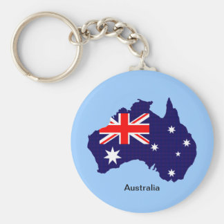 Australia outline and flag basic round button key ring