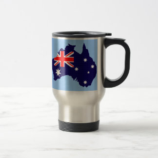 Australia outline and flag travel mug