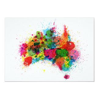 Australia Paint Splashes Map 13 Cm X 18 Cm Invitation Card