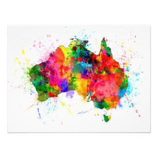 Australia Paint Splashes Map Art Photo