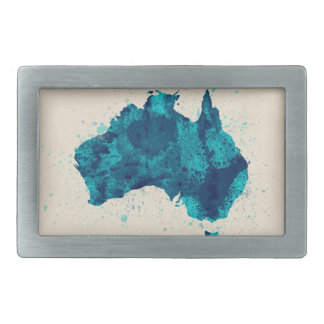 Australia Paint Splashes Map Belt Buckle