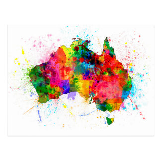 Australia Paint Splashes Map Postcard