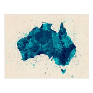 Australia Paint Splashes Map Postcard