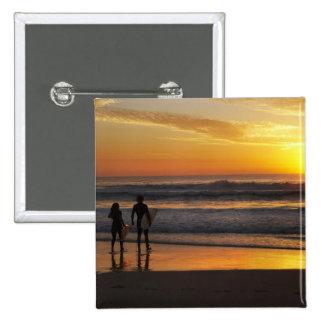 Australia, Queensland, Gold Coast, Surfers at 15 Cm Square Badge