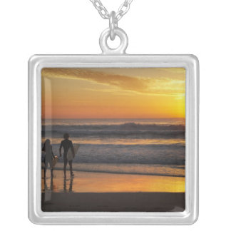 Australia, Queensland, Gold Coast, Surfers at Silver Plated Necklace