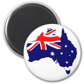 Australia Shape Flag 6 Cm Round Magnet
